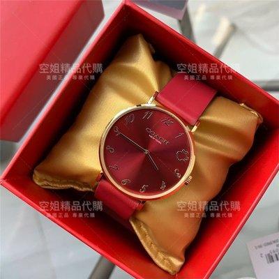 空姐代購 Coach 2021熱賣新款 14503648 牛年生肖限定紀念款 防水手錶 真皮皮帶 石英表 紅色女錶附購證
