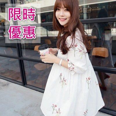 清新白色刺繡寬鬆連身裙