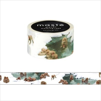 【R的雜貨舖】紙膠帶分裝 MARK'S maste和紙膠帶-Travel 温泉とサル 猴子和溫泉