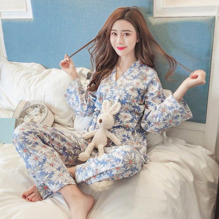 2019新款春秋長袖睡衣女秋冬日式和服可愛甜美純棉韓版家居服套裝
