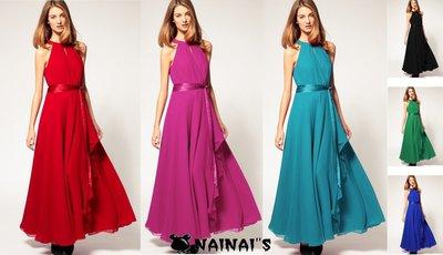 【NAINAIS】Bali‧3600 韓版 外貿爆款歐美大牌風 露肩不規則大擺無袖雪紡長裙洋裝 6色預