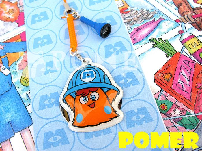 ☆POMER☆日本東京迪士尼樂園 絕版正品 迪士尼 皮克斯 怪獸電力公司 橘色怪獸 手電筒 可擦拭螢幕 彈簧 手機吊飾