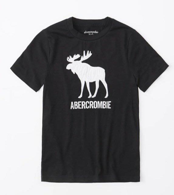 AF A&F abercrombie kids 經典款 大男童 車繡 logo 麋鹿 短T 黑色