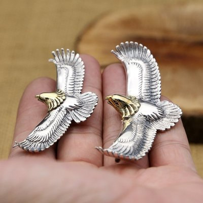 【H&M】03  S925純銀飾品復古泰銀男女款日韓高橋飛鷹鑲銅金頭個性吊墜
