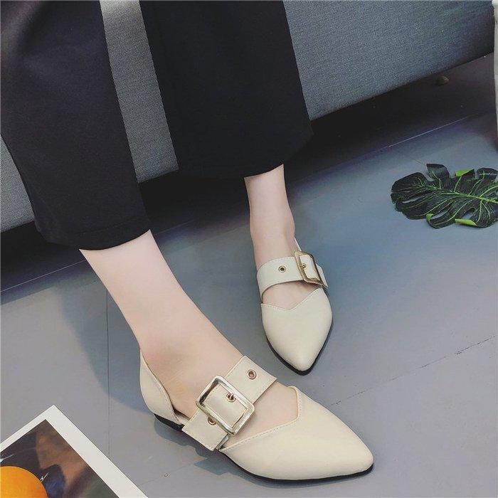 創意 夏季 正韓韓版春季新款單鞋女學生百搭一字扣帶平底鞋中空淺口尖頭鞋潮