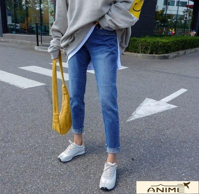☆Anime ☆正韓~  顯瘦 彈性 水洗 牛仔褲