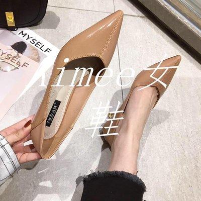 Empress丶2019春季新款正韓性感氣質OL尖頭中跟女鞋子漆皮拼接淺口細跟單鞋