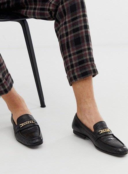 ◎美國代買◎ASOS仿鱷魚紋皮革壓紋搭配金屬鏈條裝飾鞋面英倫雅痞時尚街風無鞋帶金屬鏈壓紋皮鞋~歐美街風~大尺碼