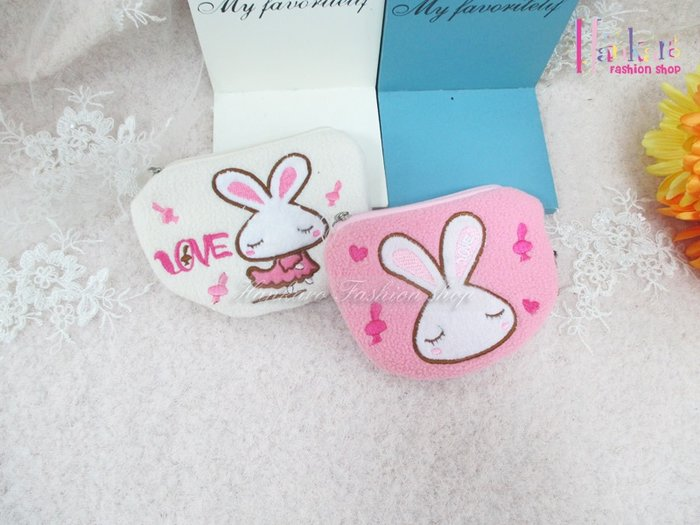 ☆[Hankaro]☆可愛兔子毛絨零錢包(樣品出清)