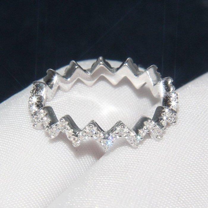 【最佳禮物】水波食指大牌戒指女士鑲晶鑽s925指環簡約氣質戒個性尾戒歐美風格