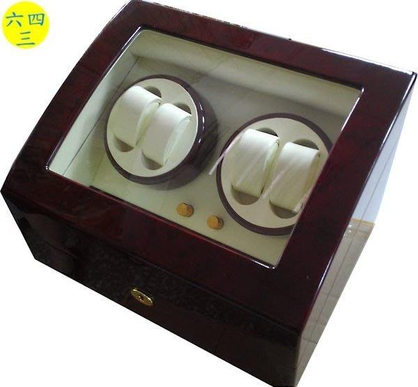 (六四三精品)高級木製可放四只手錶之自動上鍊儲存盒(動力儲存盒),下層另可收藏六只手錶