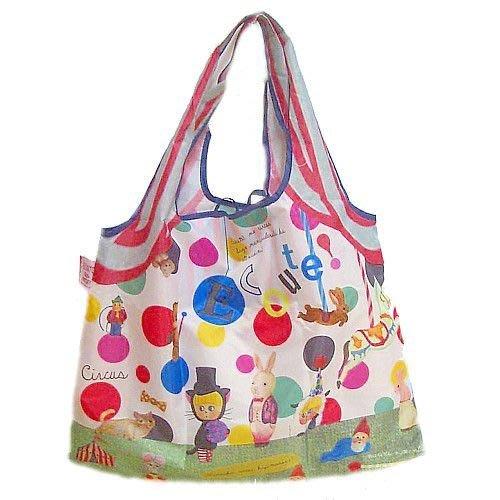 ☆Juicy☆日本 ECOUTE 法國繪本 水彩 貓 摺疊 花朵 托特包 單肩包 環保袋 購物袋 3496馬戲團