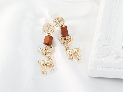 【DT髮品】迷路的麋鹿 耳環 金色 小鹿 復古木質【0026218】