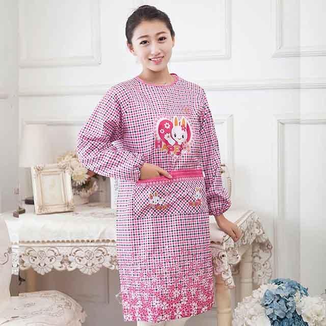 【berry_lin107營業中】韓版家居圍裙廚房長袖圍裙 防油防污