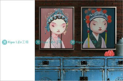 KIPO-中式-現代戲曲 設計師手繪油畫 小生 丑 武生 青衣 裝飾畫 NCB004107A