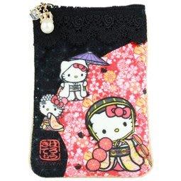 GIFT41 4165本通 三重店 Kitty x DEARISIMO 拉鍊手機袋表面絨毛.蕾絲設計