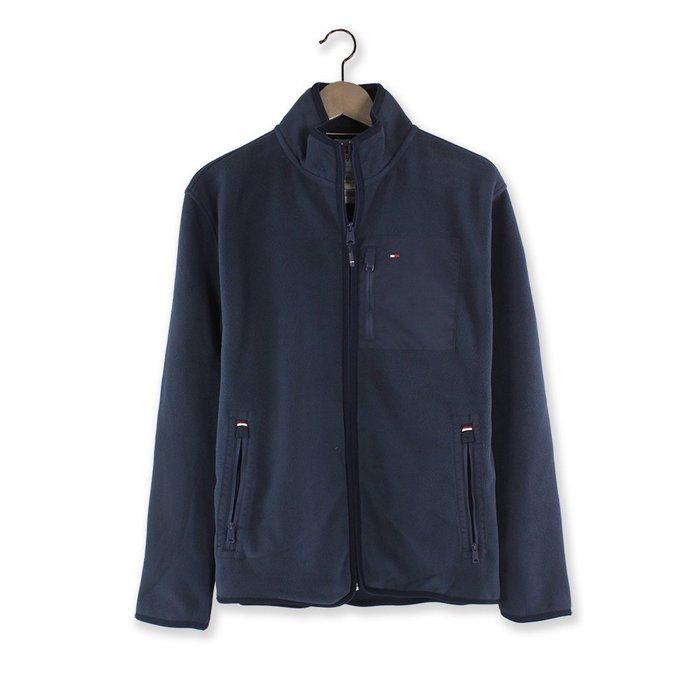 美國百分百【全新真品】Tommy Hilfiger 刷毛 立領 外套 夾克 保暖 防寒 TH 男 深藍 M號 H594