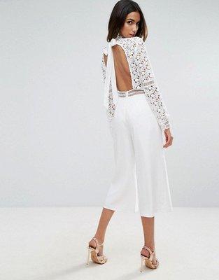 ASOS 白色蕾絲鏤空大露背寬版連身褲