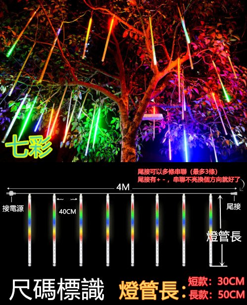 現貨桃園寄出流星燈聖誕燈LED流星燈管 流星燈條 LED燈 雙面貼片燈 造景燈 喜慶裝飾燈 聖誕燈禮物 聖誕禮物