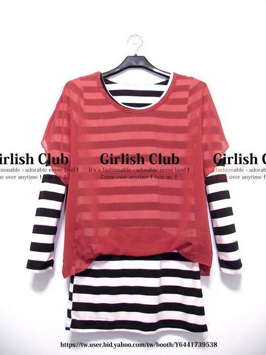【Girlish Club】渡假風條紋雪紡長版上衣連身裙橘F(m618)韓國sz sly羽絨moussy外套一三一元起標