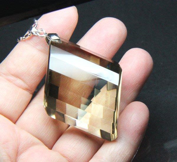 【小熊水晶窩】大顆!大靈擺!天然茶晶(墨晶、煙晶)靈擺菱形墜子 重33.2克 附項鍊