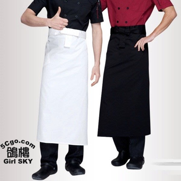 5Cgo【鴿樓】含稅會員有優惠12367874564 半身圍裙廚師服務員男女工作餐飲西餐廳咖啡館飯站長款商用營業用二色