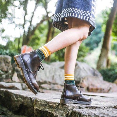娃娃鞋牛津鞋休閒鞋 鹿與深林 復古英倫馬丁靴真皮冬季圓頭高幫文藝短靴女學院風皮鞋