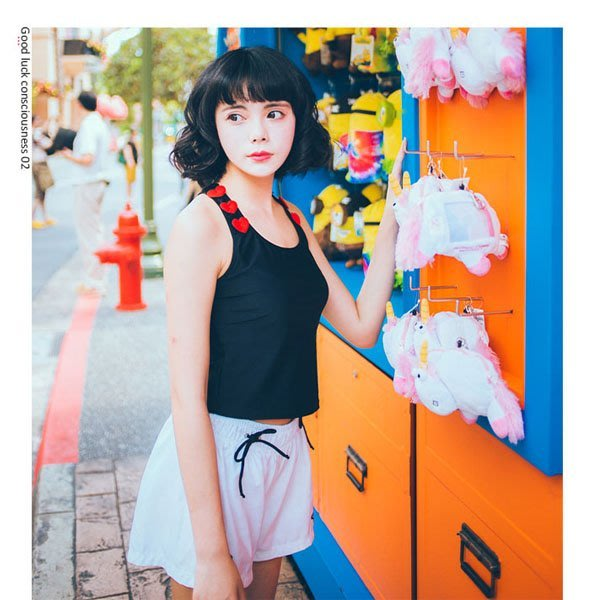 5Cgo【鴿樓】會員有優惠 529461865407 原創日系 女90UP新款少女運動風舒適鋼托聚攏甜美時尚分體三件套