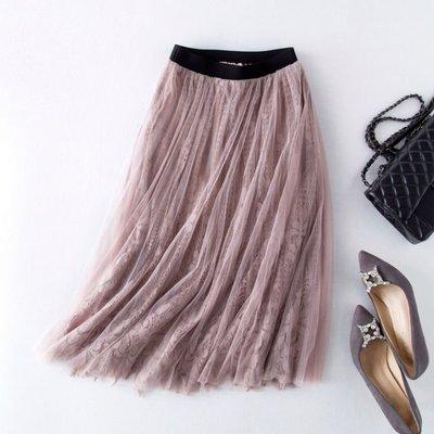 安潔菈~設計款浪漫飄逸鬆緊腰版雙層網紗拼接蕾絲中長半身裙