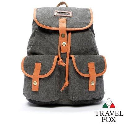 全新~Travel Fox 旅狐波帆水桶包  後背包 灰色 學生 多口袋 內袋 後揹書包 束口 時尚帆布 A4