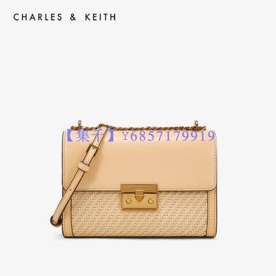 【集千】CHARLES&KEITH 單肩包 CK2-70780956-2編織飾女士鏈條翻蓋單肩包