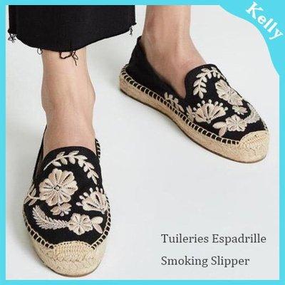Kelly代購* 美國Soludos【厚底款。巴黎花園 】黑色底 細緻花卉刺繡草編鞋鞋帆布鞋