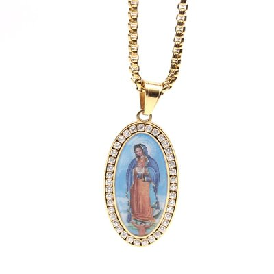 Gold-plated Guadalupe cz necklace