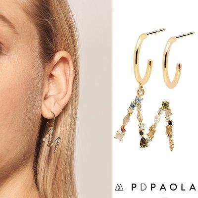 PD PAOLA 西班牙時尚潮牌 金色M字母耳環 彩鑽耳環 925純銀鑲18K金
