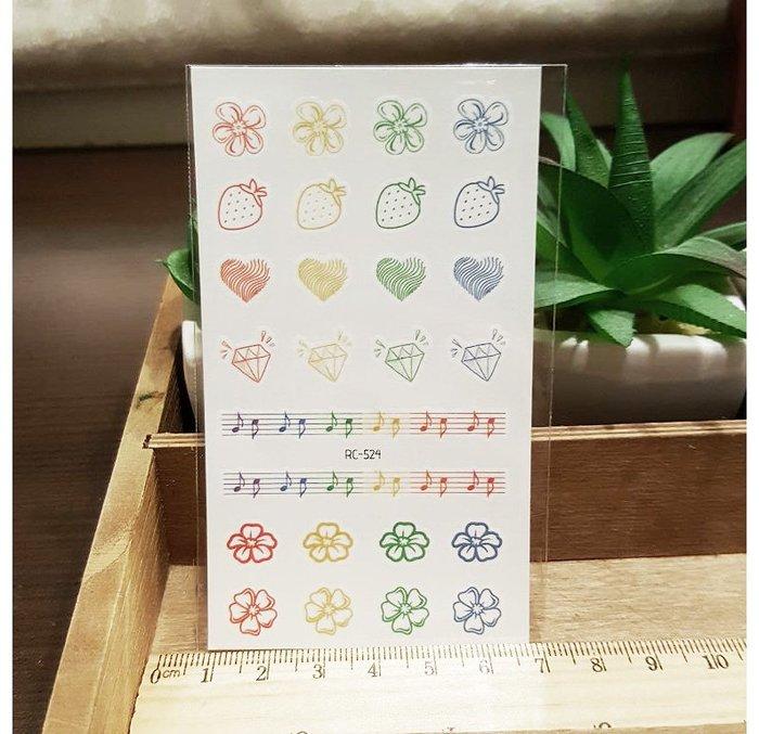 【萌古屋】泫雅風彩音符草莓 - 兒童Party卡通防水紋身貼紙刺青貼紙RC-524