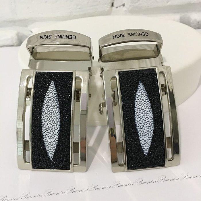現貨 3.5x7cm 泰國珍珠魚皮 皮帶頭  工廠直營特價優惠  全台最優價  淡金框黑色珍珠皮皮帶頭 【寶妮子】