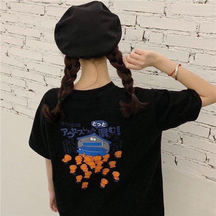 ZIHOPE 女生上裝2019夏季新款韓版CHIC寬松顯瘦學院風可愛卡通印花短袖T恤上衣女ZI812