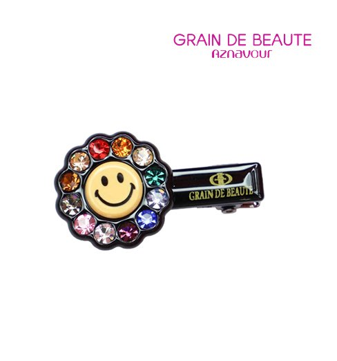 BHJ671-法國品牌Grain de Beaute 施華洛世奇晶鑽笑臉太陽髮夾 瀏海夾 鴨嘴夾【韓國製】