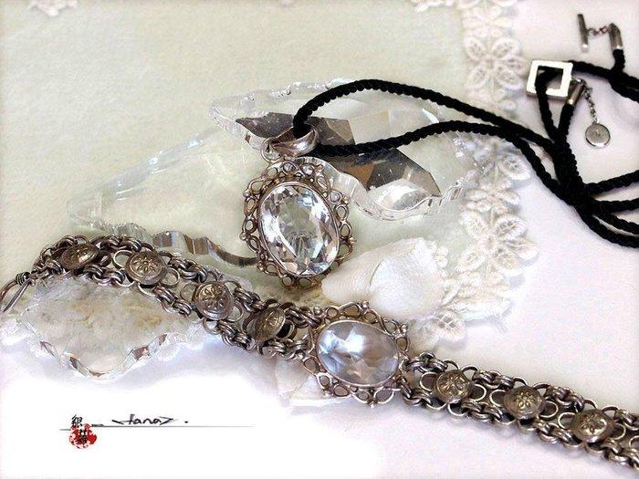 銀囍古董銀飾~老銀梅花手鍊 水晶項飾 頸飾成套