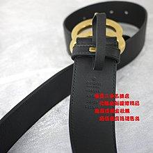 優買二手精品名牌店 GUCCI 400593 全皮 MARMONT 大 雙 G G 黑 牛皮 LOGO 皮帶 腰帶 激新