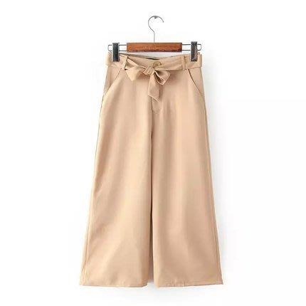 Ask Chic | 藍色/S號-現貨 || 帥氣直筒蝴蝶結系腰九分闊腿高腰純色休閒褲(AN6312)