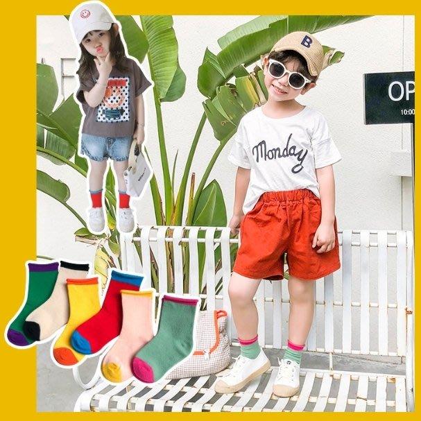 【小阿霏】兒童短襪 男孩女孩拼色捲邊襪子 男童女童夏日短襪子 中小中大童尺碼PA63