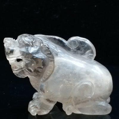天然老水晶 清代 『純天然老白水晶立體圓雕  獨角豼貅鼻煙壺+原裝蓋 小擺件』