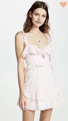 For Love & Lemons DIXIE 粉紅格紋荷葉連身裙洋裝