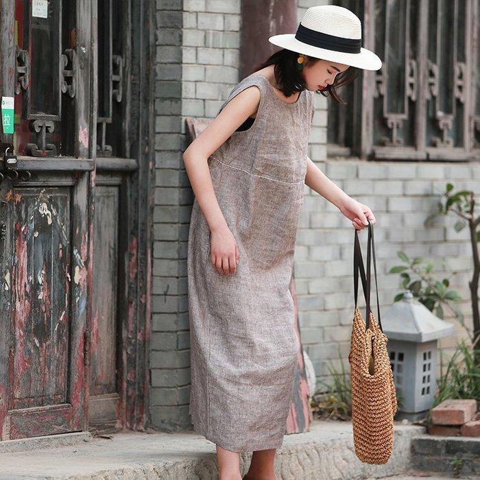 【鈷藍家】棉麻臆想 原創夏七月咖啡色織亞麻背心裙V領下擺開叉連身裙 兩面穿 手縫繡線無袖長裙