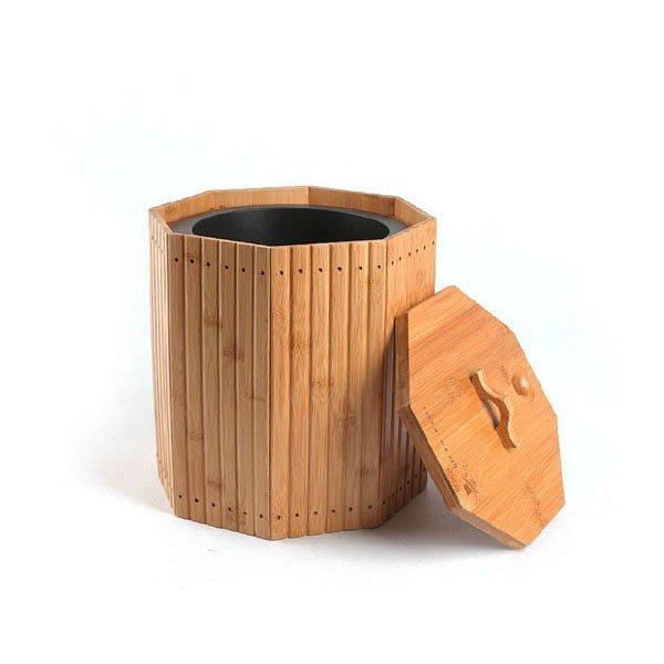 5Cgo【茗道】含稅會員有優惠 39848692877 竹制茶水桶茶渣桶功夫茶桶茶具茶盤排水桶多用桶帶蓋茶道