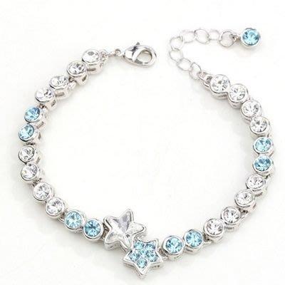 手鍊 925純銀 水晶手環-閃耀星星造型鑲鑽女飾品7色73ak3[獨家進口][米蘭精品]