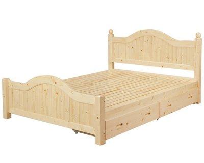 【DH】貨號B53-1名稱《背亞》5尺松木雙人床架(圖一)含雙抽.實木床底.備有3.5尺.四分板可選.主要地區免運費