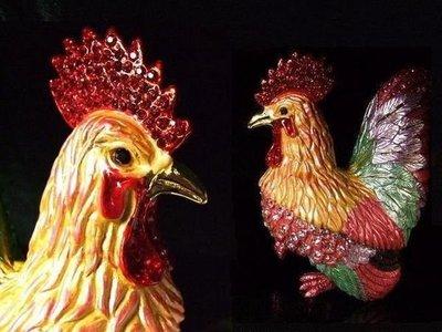 ☆八海精品☆【琺瑯鑲水鑽 公雞 母雞 1對~首飾盒 聚寶盆 婚慶入宅帶路雞】