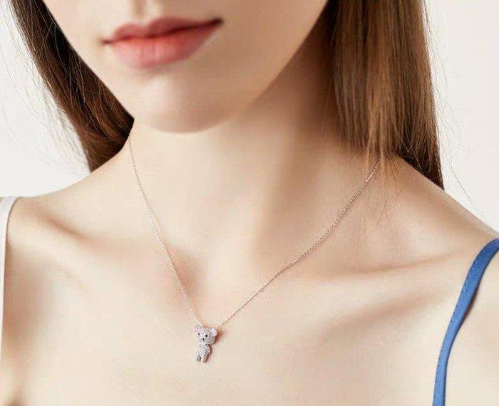 可愛泰迪熊閃亮鋯石925純銀項鍊短鏈 禮物 禮盒裝